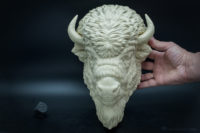 Buffalo animal sculpture faux taxidermy by VoronFab