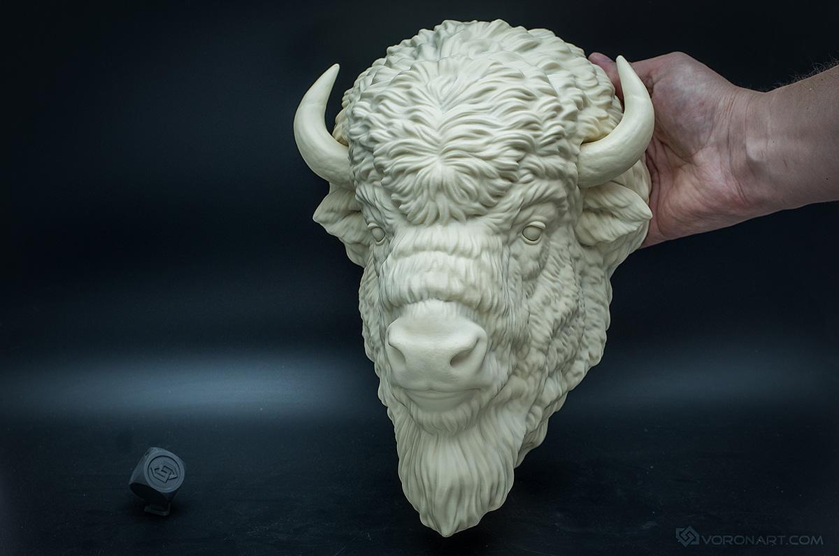 Buffalo sculpture animal trophy faux taxidermy by VoronFab
