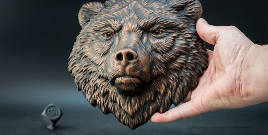 Bear Grizzly serious face relief sculpture wall decor faux copper bronze