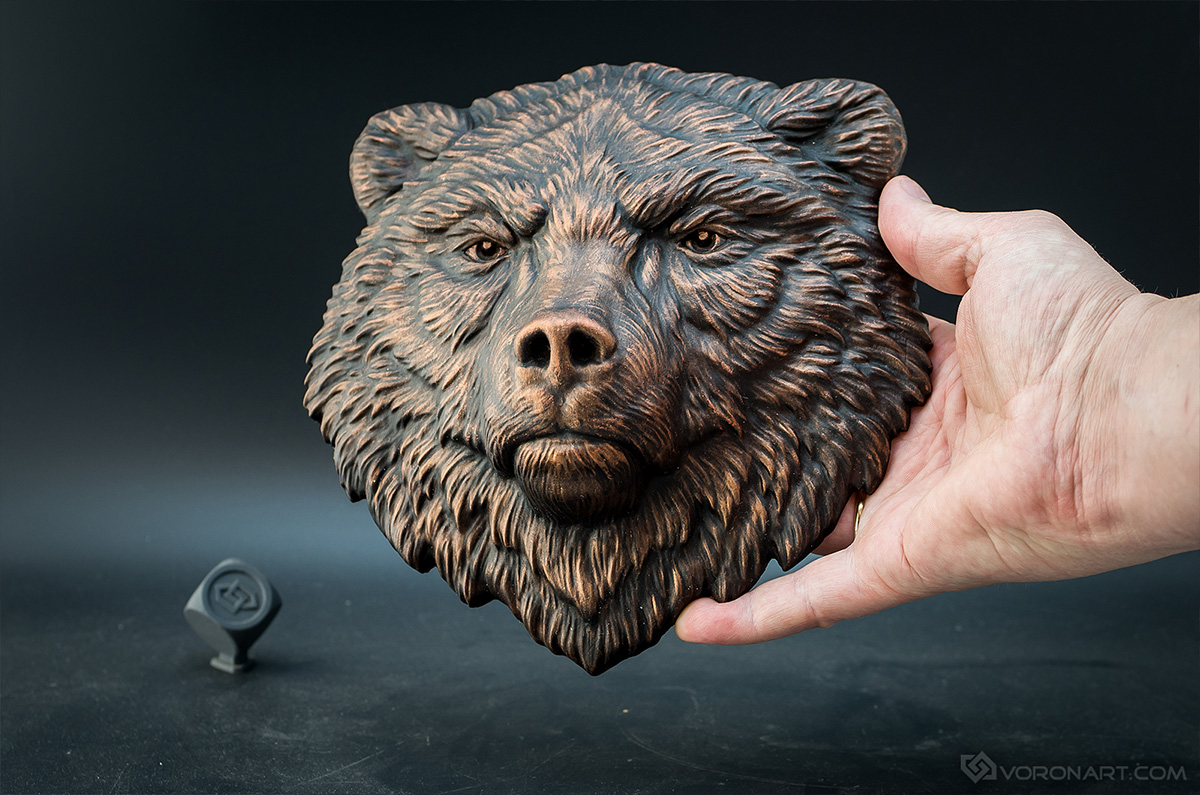 Bear Grizzly serious face relief sculpture wall decor