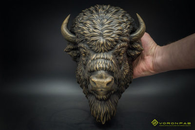 American bison animal head bronze wall sculpture faux taxidermy