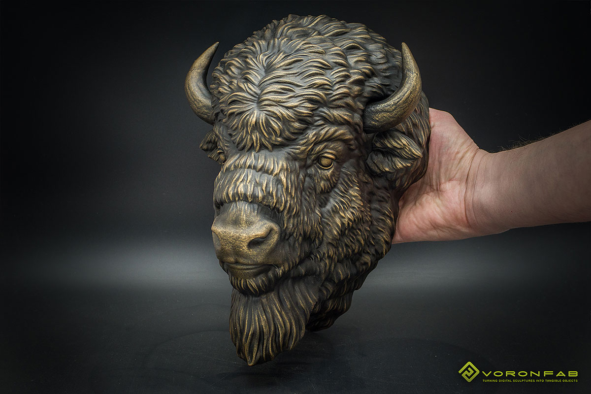 American bison head animal bronze sculpture faux taxidermy home decor
