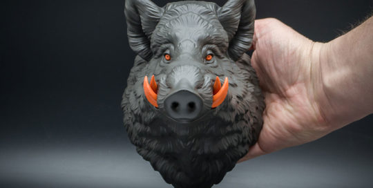 Small wild boar wall sculpture faux taxidermy gray-orange