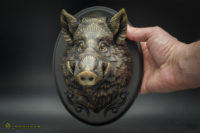 Small wild boar wall sculpture faux taxidermy antique bronze