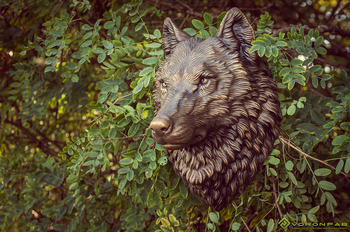 Wolf animal head wall sculpture faux taxidermy antique bronze