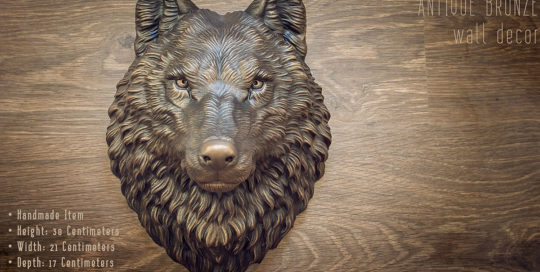Wolf head animal wall sculpture faux antique bronze home decor