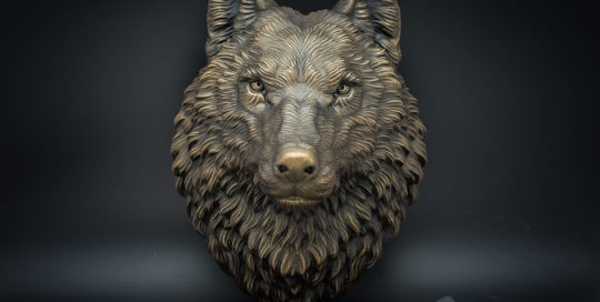 Wolf head animal wall sculpture faux taxidermy antique bronze