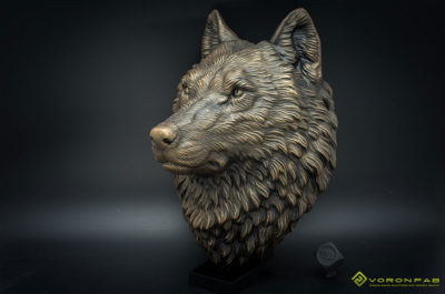 Wolf head animal wall sculpture faux taxidermy antique bronze home decor