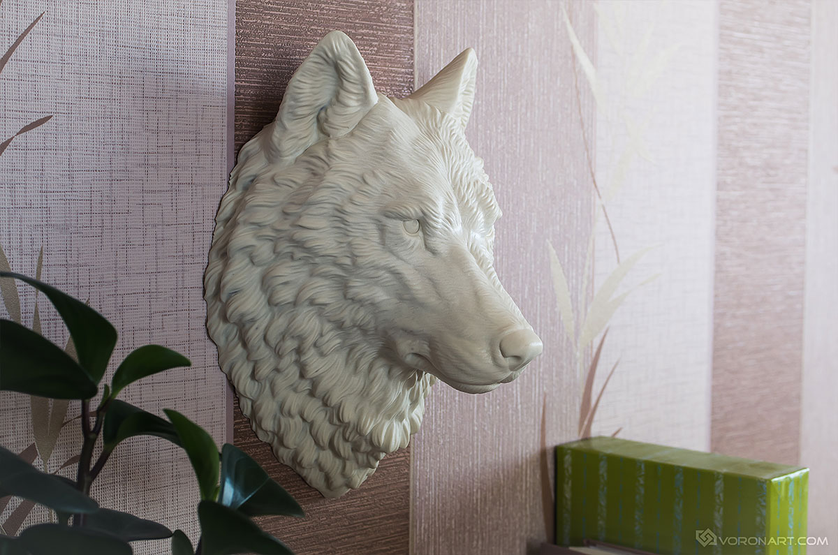 Gray wolf head animal sculpture. Wall mounted faux taxidermy home decor