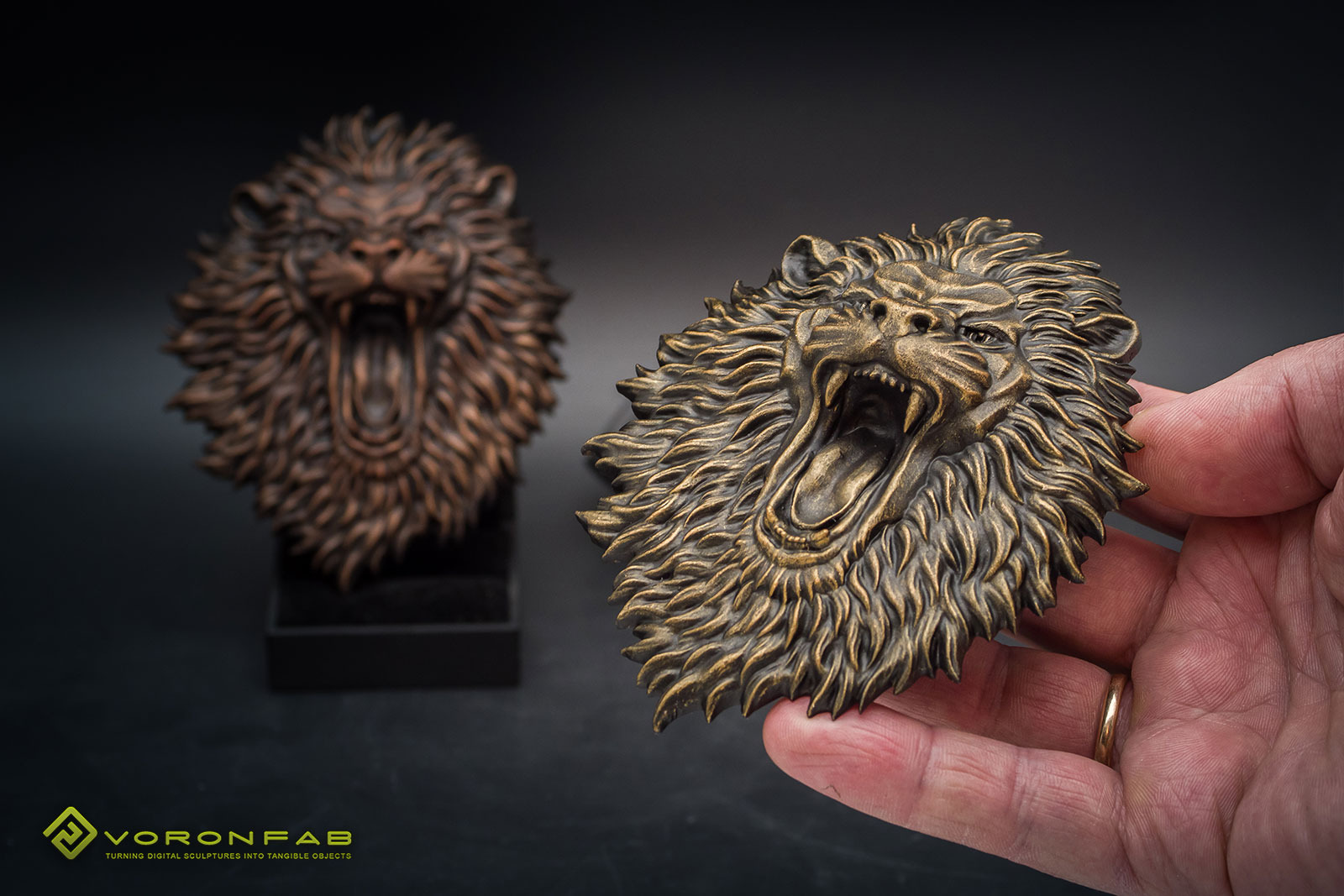 angry lion head animal sculpture bas-relief magnet souvenir, bronze