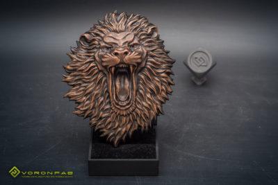 angry lion animal head relief sculpture magnet souvenir, copper