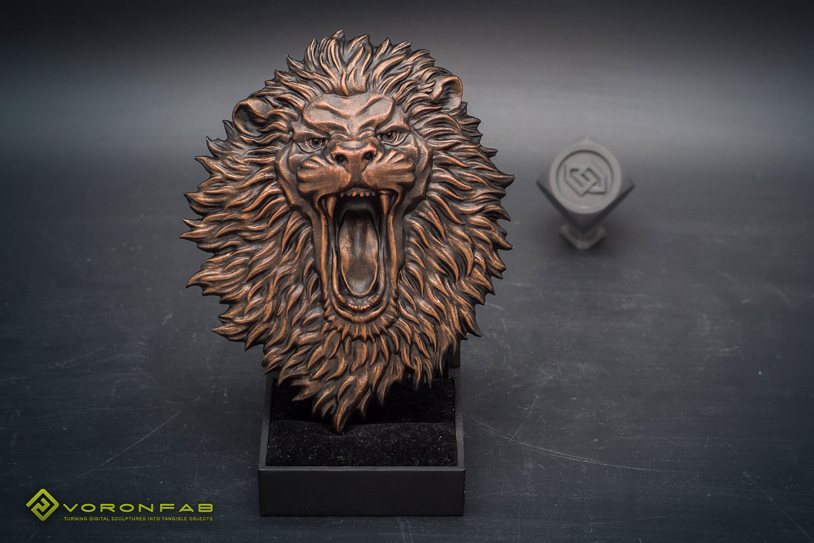 angry lion animal head relief sculpture magnet souvenir, copper
