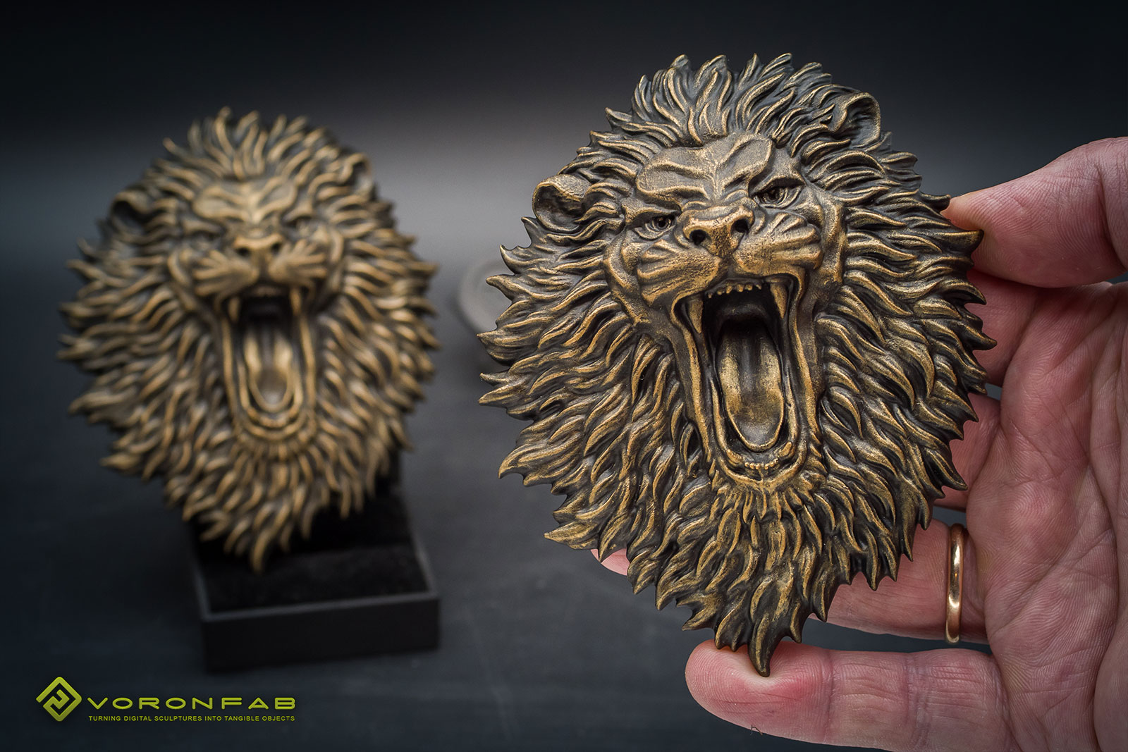 Angry Lion Face relief sculpture. 12cm