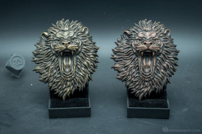 Buy Angry Lion face. Faux bronze,copper relief sculpture