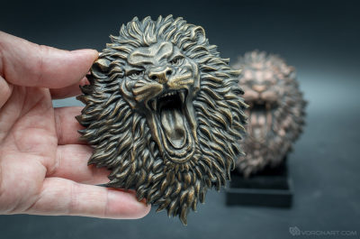 Buy Angry Lion face. Faux bronze animal relief sculpture