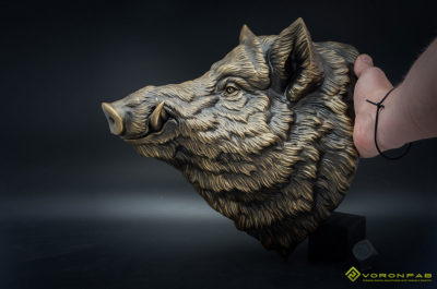 Wild boar head bronze faux metal animal wall sculpture taxidermy. home decor