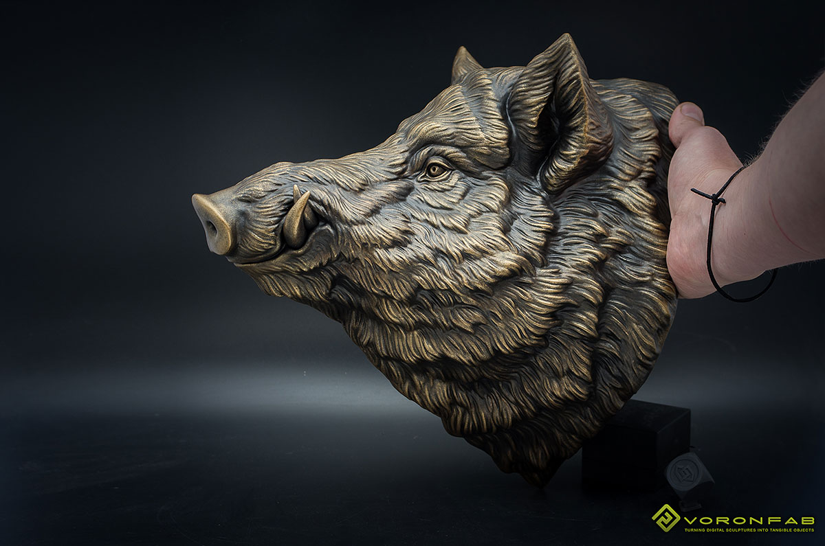 Wild boar bronze animal head wall sculpture faux taxidermy home decor
