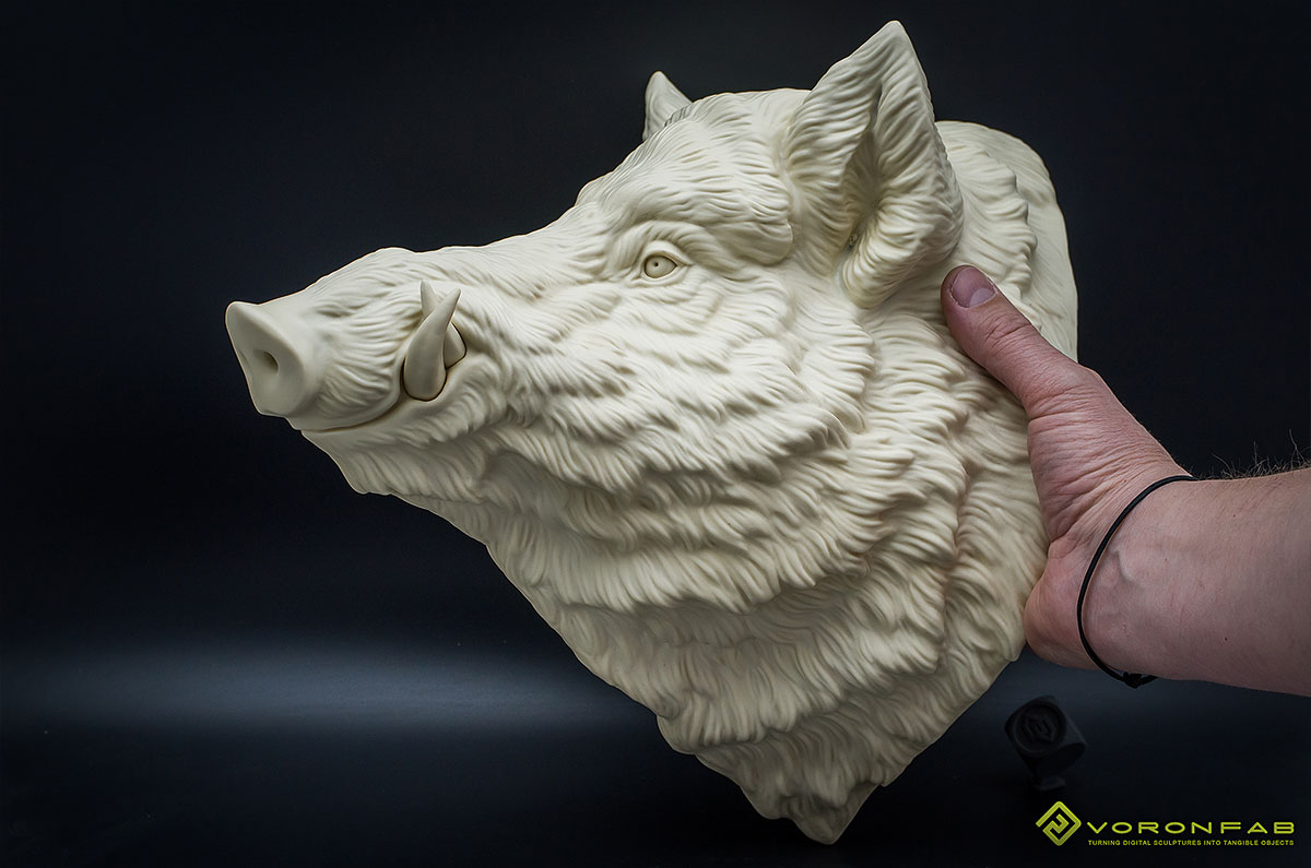 Wild boar head wall sculpture home decor resin casting ivory color