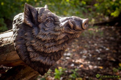 Wild boar antique bronze sculpture faux taxidermy home decor