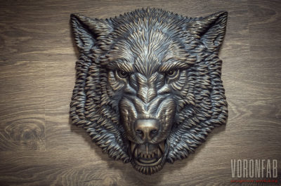 Buy Growling Wolf faux bronze animal sculpture by VoronFab