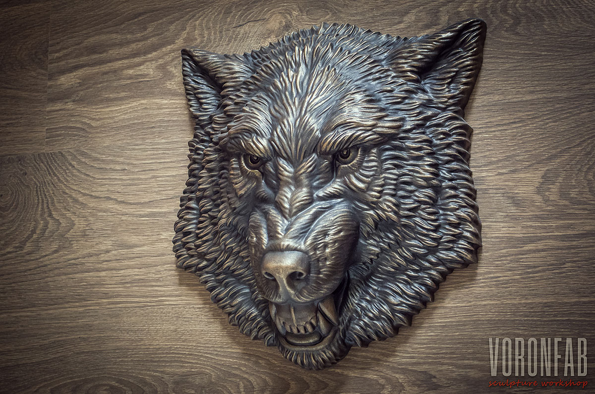 Wolf animal head faux bronze sculpture by VoronFab