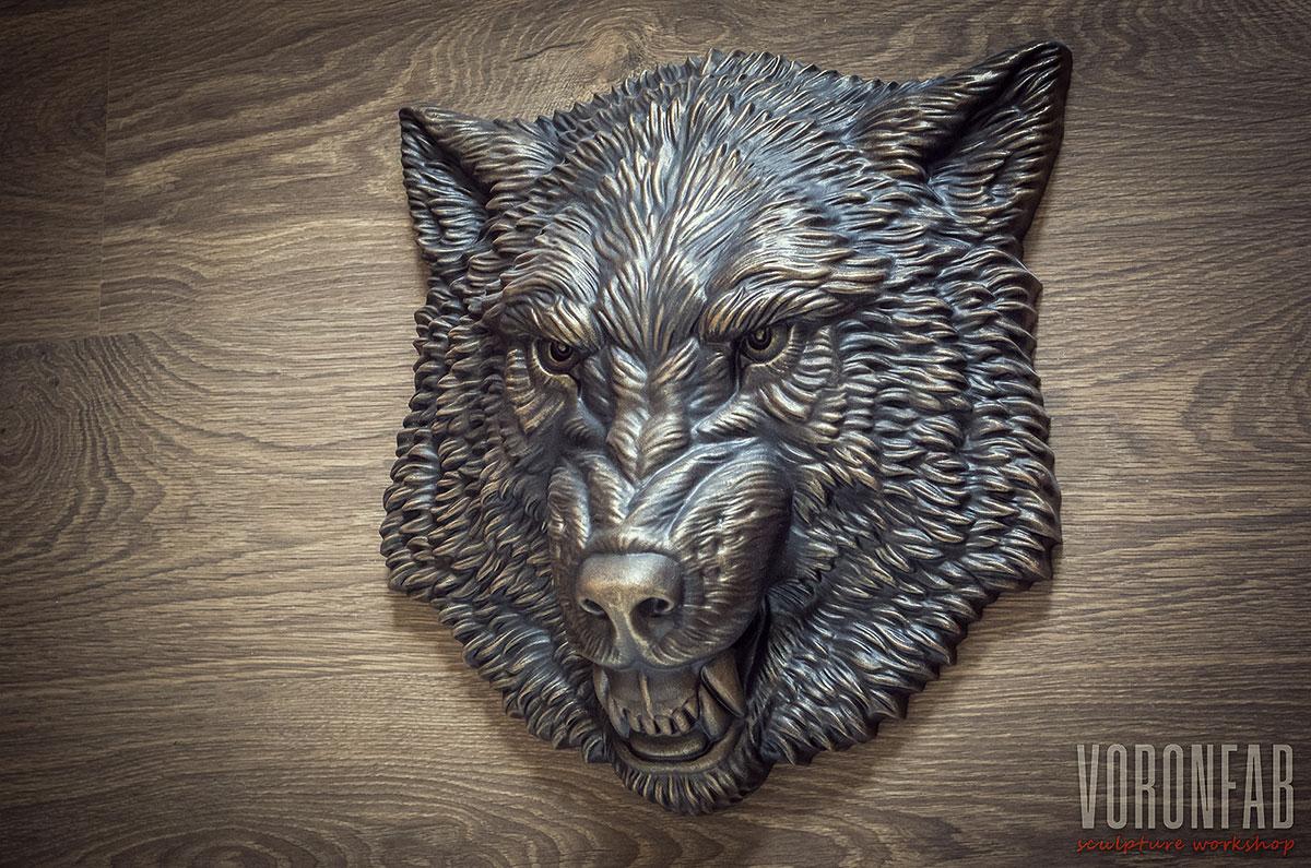 Wolf animal head faux bronze sculpture by VoronFab
