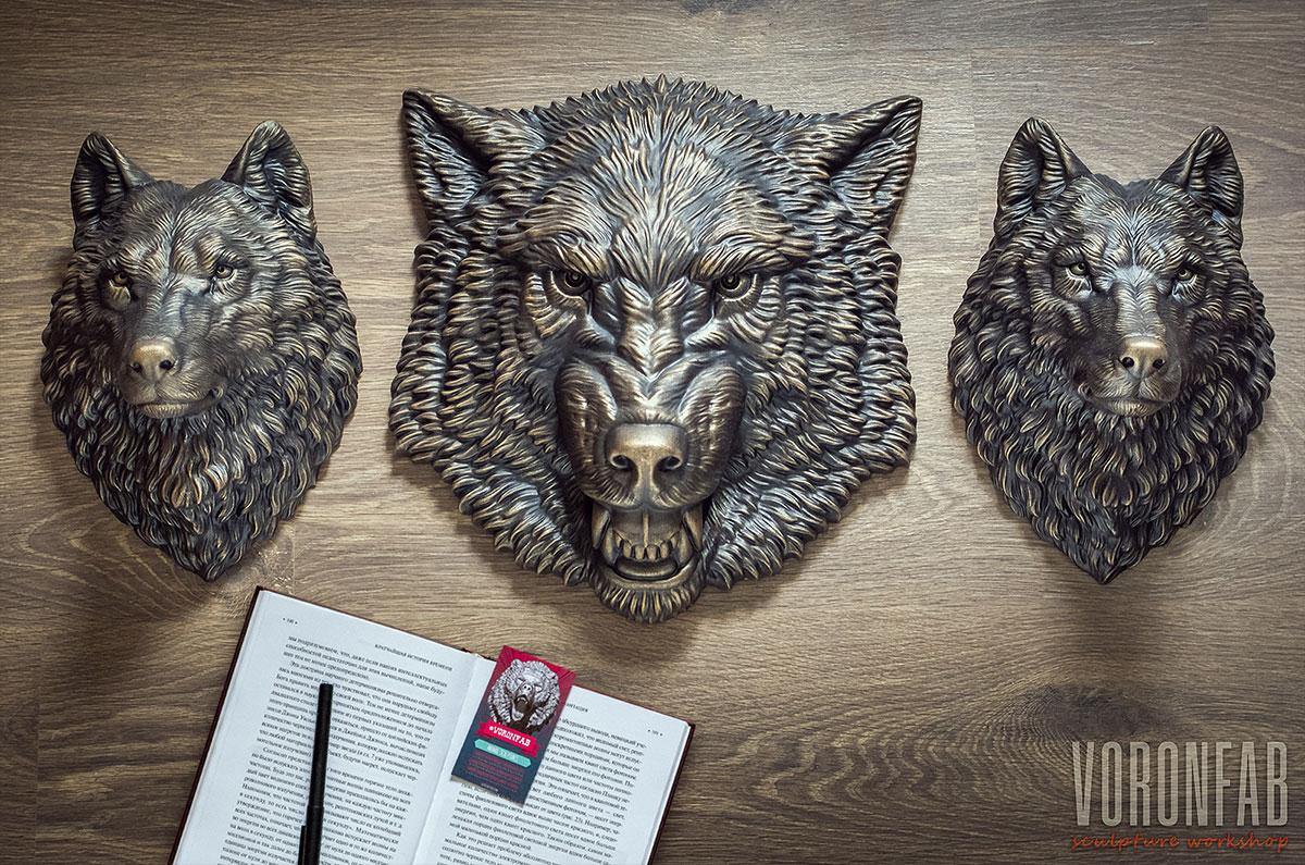 Buy Wolf animal head antique bronze sculpture by VoronFab