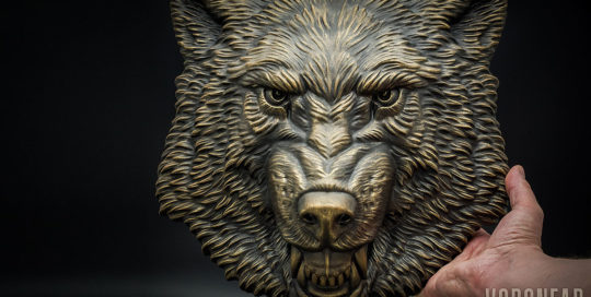 Growling Wolf animal head sculpture, wall decor by VoronFab