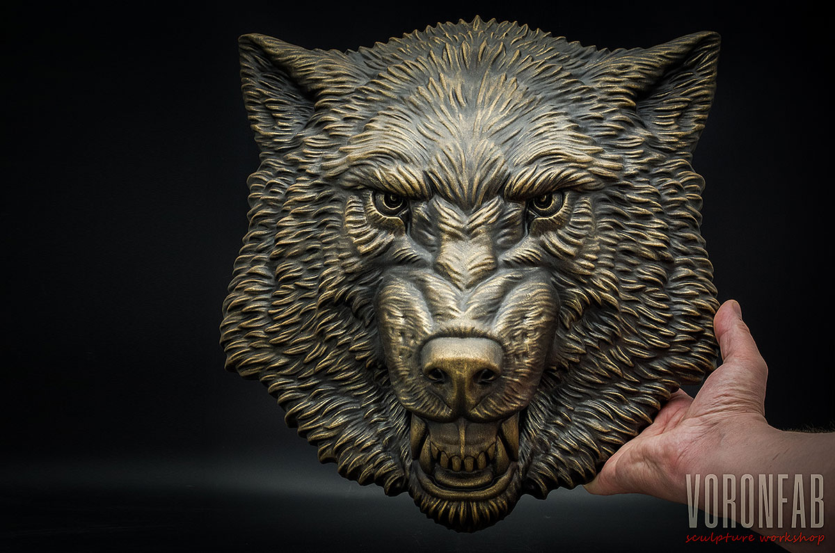 Growling Wolf animal head wall sculpture