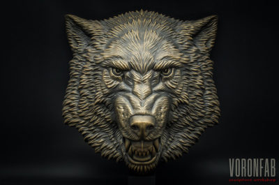 Angry Wolf animal head relief sculpture, faux bronze by VoronFab