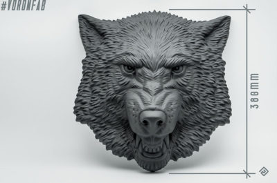 Angry Dog face animal sculpture by VoronFab. big size