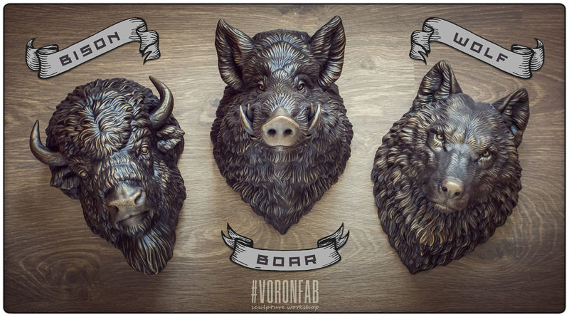 Buy animal sculptures by Voronfab. Wild boar, bison wall decor