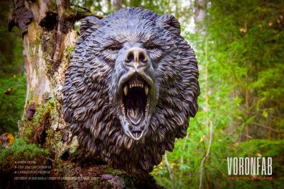 Roaring bear head bronze wall sculpture faux taxidermy