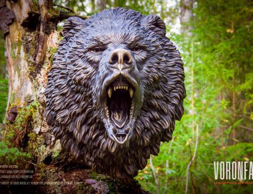 Roaring angry bear animal head sculpture