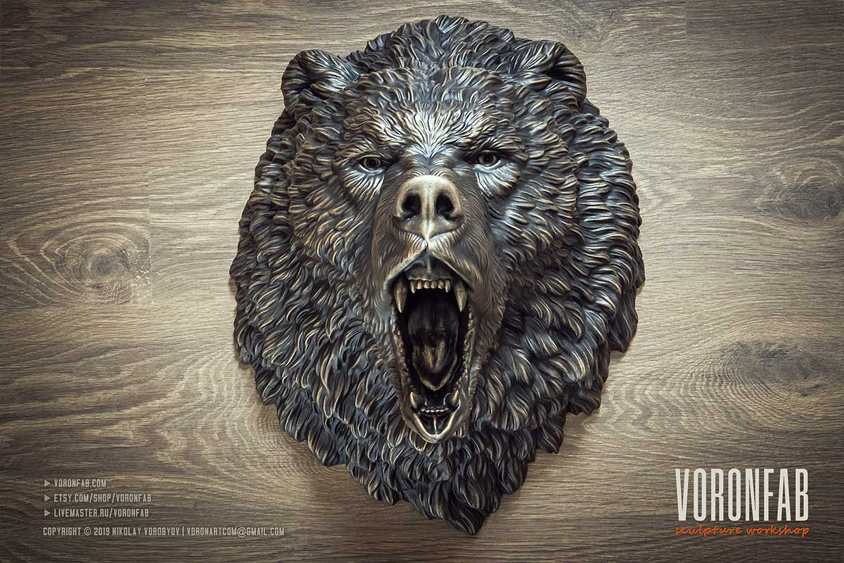Roaring bear head bronze wall sculpture hunting trophy