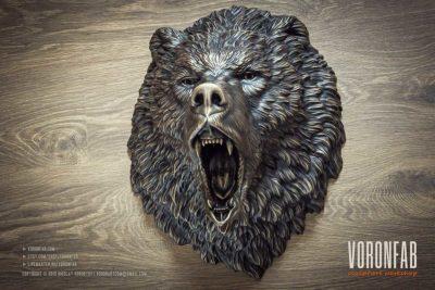 Aggressive wild animal head bronze wall sculpture faux taxidermy