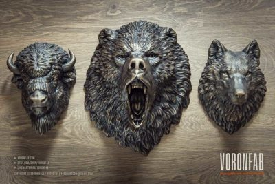 Voronfab wild animal heads bronze wall sculpture faux taxidermy