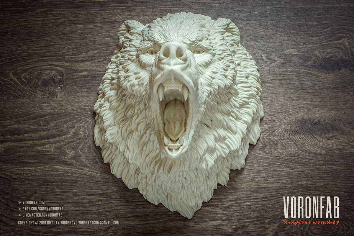 Lagre roaring angry bear animal sculpture resin rotational casting