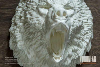 Lagre roaring bear head hunting trophy wall sculpture